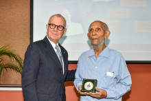 Chancellor of The University of the West Indies (The UWI), Robert Bermudez (left) presents the Chancellor's Medal to Prof. Sir Roy Augier at a ceremony at The UWI Regional Headquarters on Friday, January 17, 2020