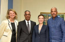 L-R – H.E. Laurie Peters, Professor Gervan Fearon, Hon. Kamina Johnson Lewis and Professor Sir Hilary Beckles at the launch event