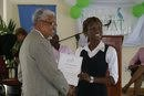 Rachel receiving her Ambassadorial Certificate from Vice Chancellor Harris
