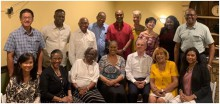 The UWI Chancellor & Director of Alumni Relations with the UWIAA President (Bahamas), Missouri Sherman Peter & UWI Medical Alumni President (Dr. Robin Roberts) after dinner at Luciano's, as well as alumni executive members, Campus Directors