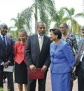 Hon. Kamla Persad-Bissessar became the first female Head of State to be inducted into the UWI Mona Park in Honour of Graduates who are or have been Heads of Government. L-R: C. William Iton, University Registrar; Dr. Camille Bell-Hutchinson, Campus Registrar, Mona; Professor Gordon Shirley, Pro Vice Chancellor and Principal, Mona; Hon Kamla Persad- Bissessar, Prime Minister of Trinidad and Tobago; Dr. Gregory Bissessar; Rev. the Hon. Ronald Thwaites, Minister of Education. Second row: H.E. Dr. Iva Gloudo...